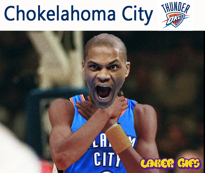 Oklahoma City Thunder choking in a game against Golden State Warriors. Russell Westbrook and Kevin Durant