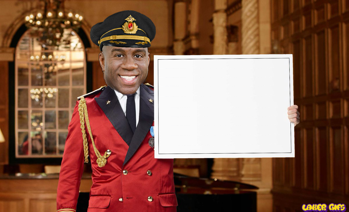 Magic Johnson Captain Obvious with blank sign meme