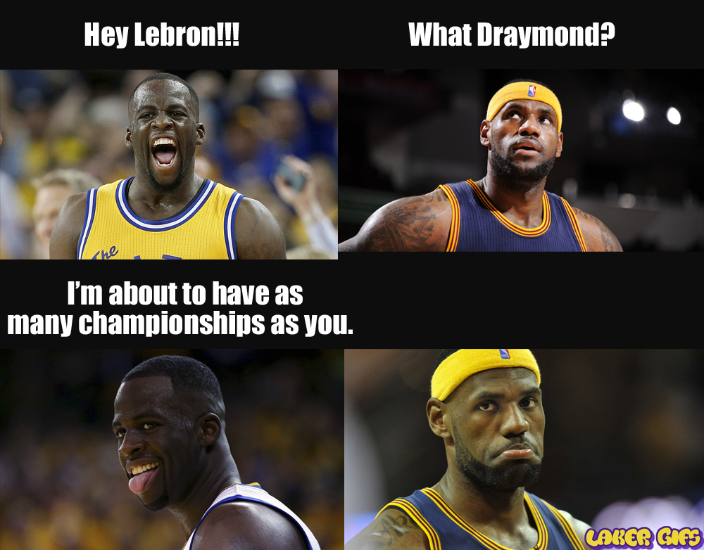 Draymond Green tells Lebron James he's about to have as many championships as him.